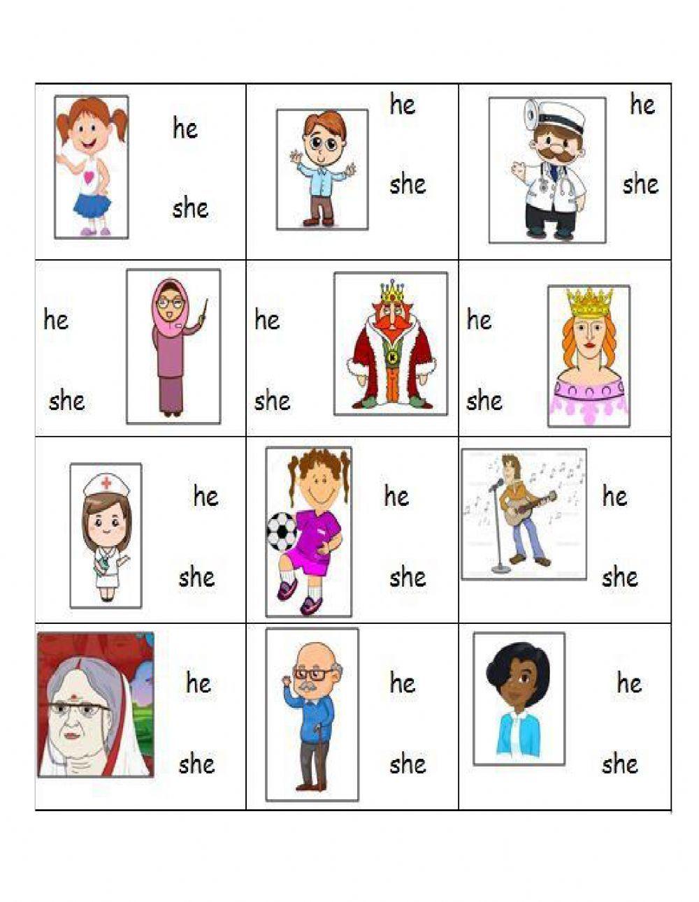 He she Interactive worksheet in 2020 Pronoun