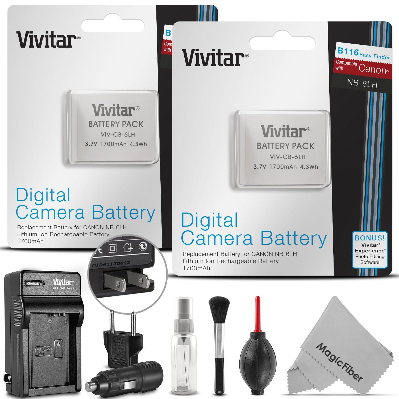 $14 99 - 2 X Vivitar Nb-6L Nb-6Lh Battery & Charger Canon