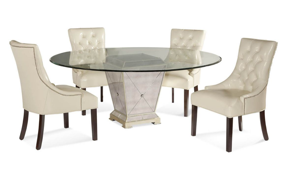 Borghese Round Dining Set Antique Mirror Silver Leaf Finish 8311 000 Aac Decor South