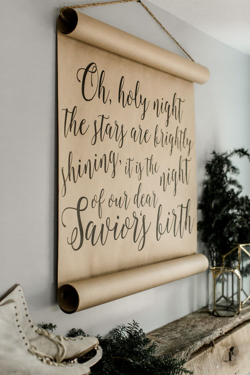 Oh Holy Night Calligraphy Scroll Farmhouse wall decor