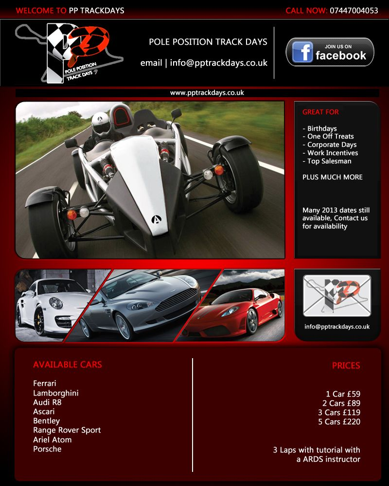 PPTrackdays Cars And Prices. Trackdays Start From As