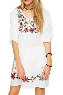 Embroidery Floral Loose Dress outfit