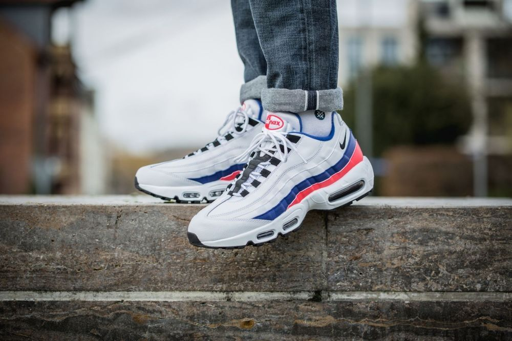 on sale 9d260 5ffc3 NIKE AIR MAX 95 ESSENTIAL - LE WHITE, BLACK, RED  MARINE TRAINERS IN ALL  SIZES