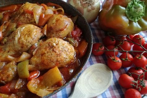 Photo of Stewed chicken with peppers and onions