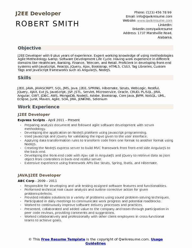 core java developer resume best of j2ee developer resume