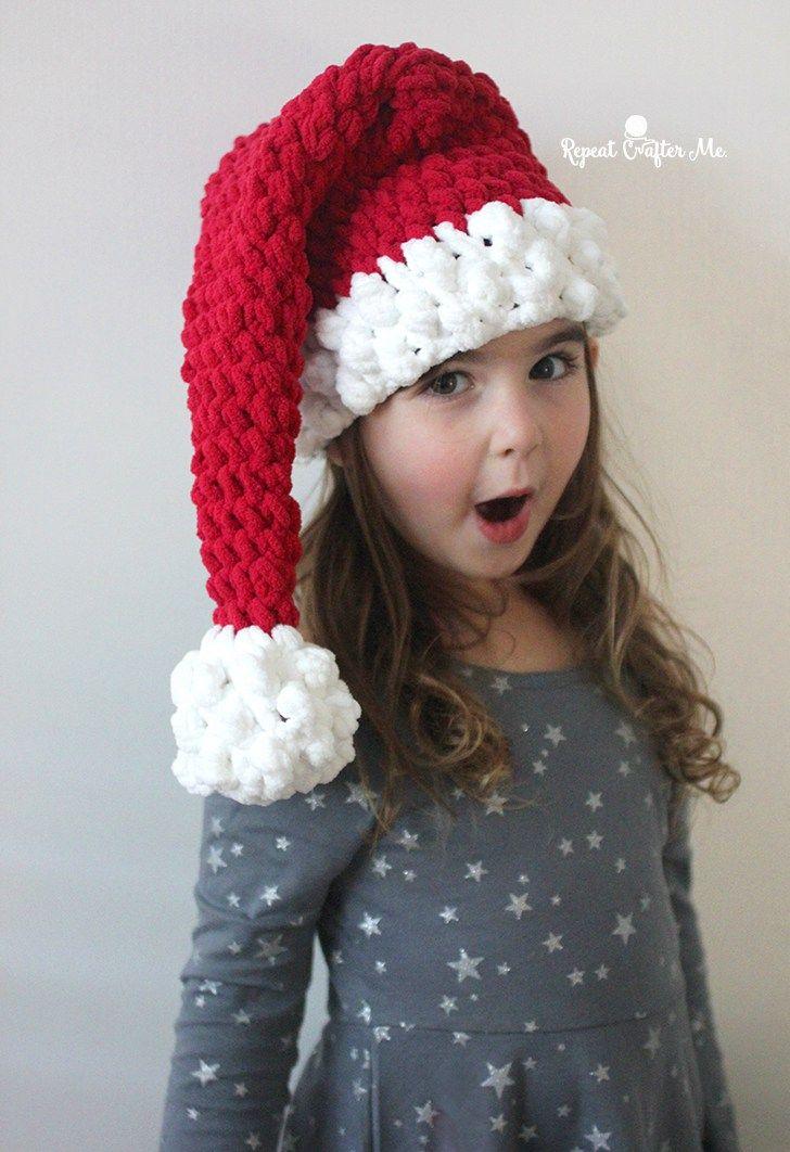 Crochet Santa Hat with Bernat Blanket Yarn | Babysachen ...
