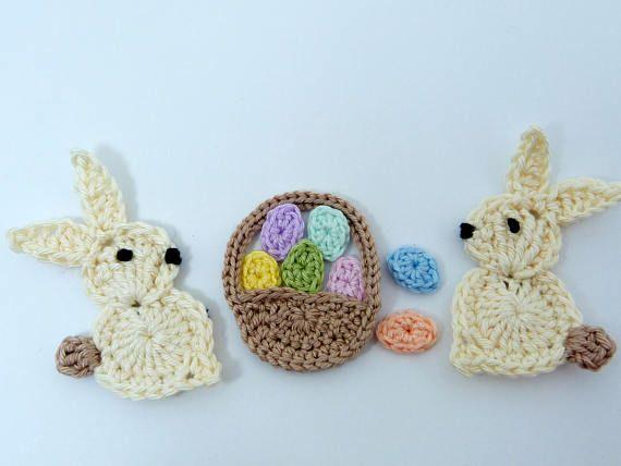Crochet Appliques Easter 2 Large Cream