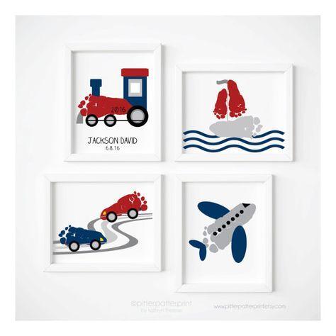 Transport Reisen Kinderzimmer Kunst Druck gesetzt Zug #kinderzimmerkunst