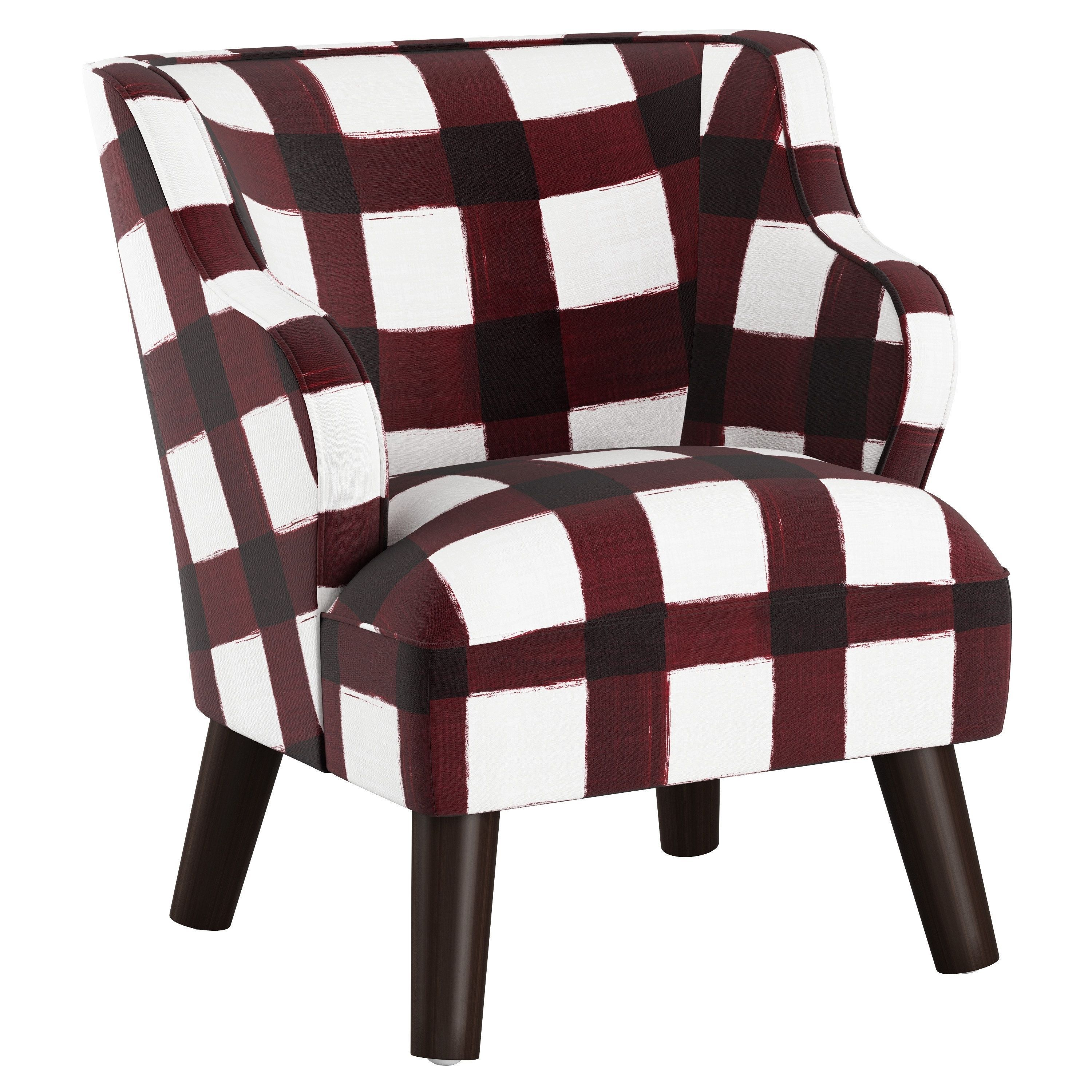 Stupendous Skyline Furniture Kids Accent Chair In Plaid Red Linen Creativecarmelina Interior Chair Design Creativecarmelinacom