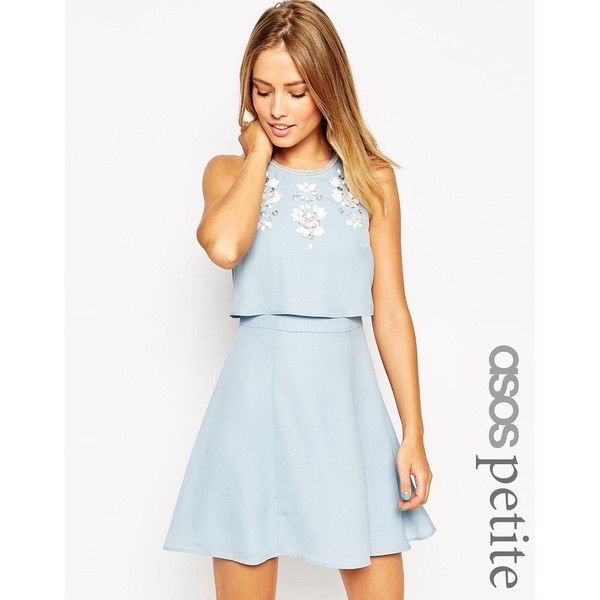 ASOS PETITE Embellished Crop Top Skater Dress ($70) ❤ liked on Polyvore featuring dresses, light blue, layered dress, light blue dress, light blue skater dress, keyhole skater dress and skater dress