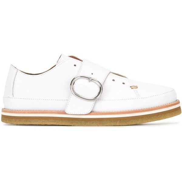 Sportmax buckled loafers ($445) ❤ liked on Polyvore featuring shoes, loafers, white, buckle loafers, leather loafers, buckle shoes, white leather shoes and white loafers