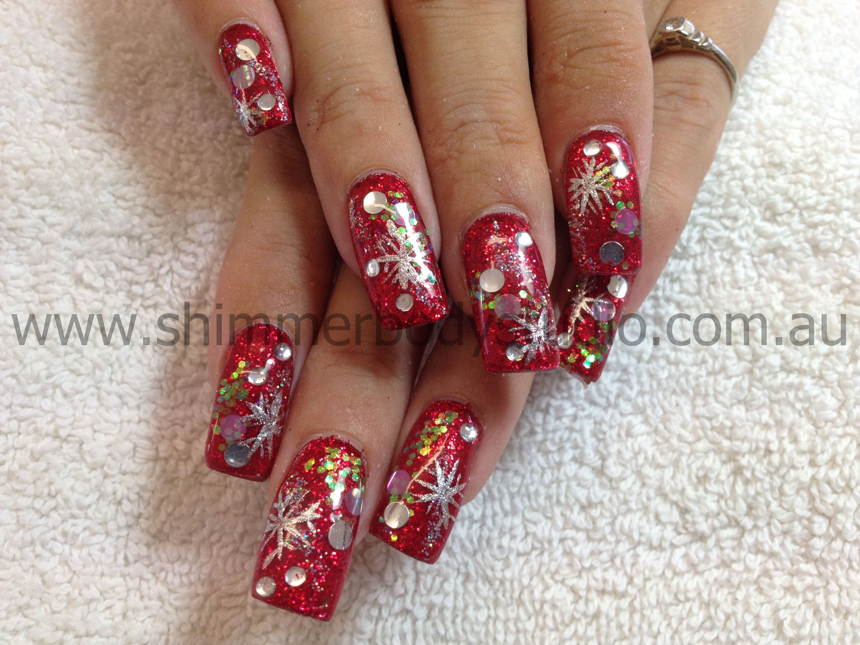 Gel nails, glitter nails, christmas nail art by Shimmer Body Studio ...