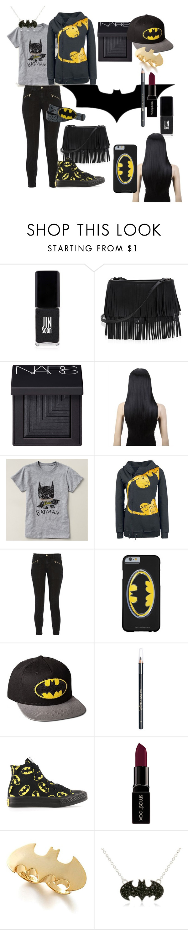 """""""•batman•"""" by abbymccombs ❤ liked on Polyvore featuring JINsoon, White House Black Market, NARS Cosmetics, J Brand, Barry M, Converse, Smashbox and Noir"""