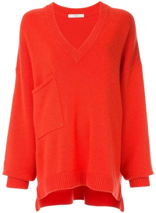 f70dcdb388f057 Tibi Cashmere Sweater Deep V-Neck Oversized Pullover | Products ...