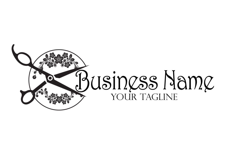 Beauty Scissor Logo Custom Logo Design Black Flowers Etsy Hair Salon Logos Hairdresser Logo Hair Stylist Logo