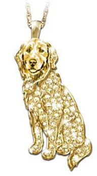 Golden Retriever Crystal Pendant Necklace Sparkles With A Pave Of