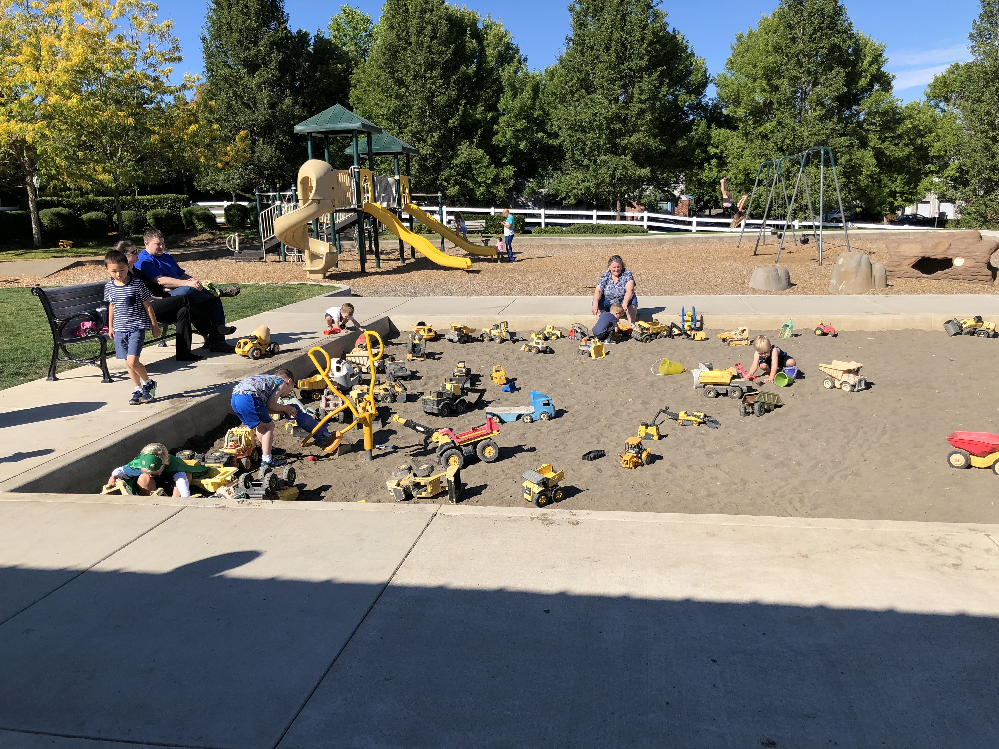 Woodhaven City Park In Sherwood Or Giant Sandbox With Trucks