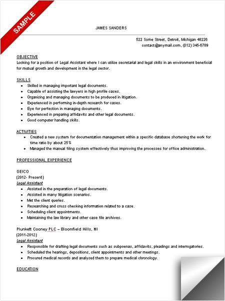 Legal Assistant Resume Sample Resume Objective Pinterest - resume library