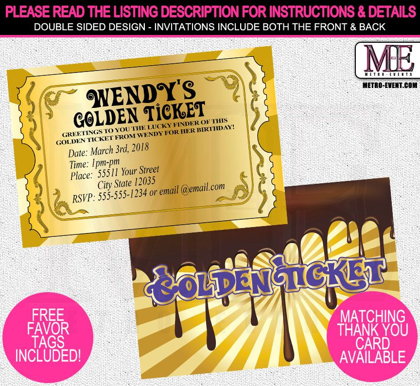 Chocolate Factory Invitations Golden Ticket by MetroEvents on Etsy ...