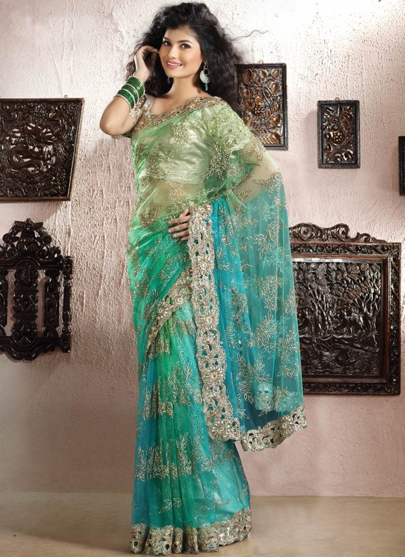 Shaded Turquoise And Aqua Green Saree | Indian Fashion | Pinterest ...