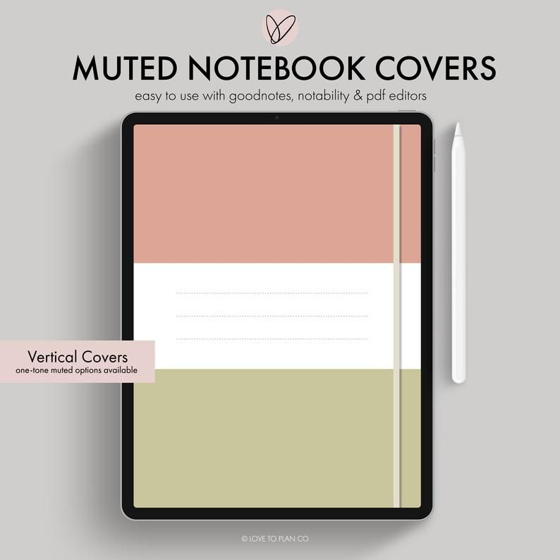 Digital Covers, Digital Notebook Cover, Goodnotes Template
