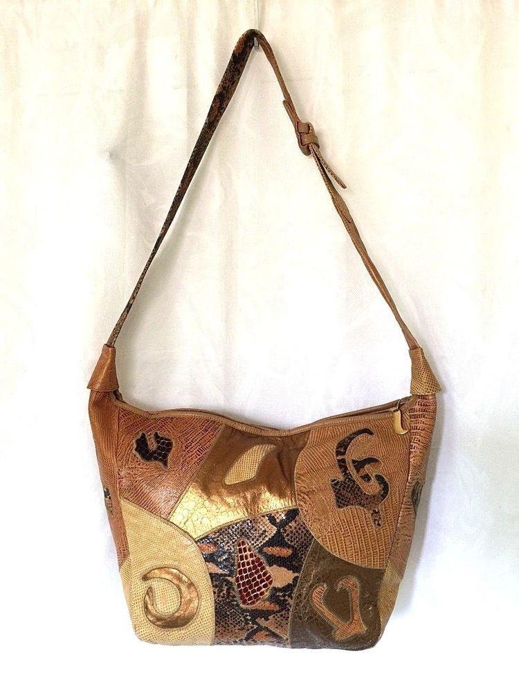 Vtg Sharif Shoulder Bag Handbag Patchwork Leather Large Brown Beige Snakeskin Shoulderbag