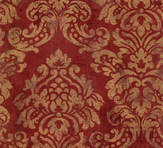 Red and Gold Distressed Damask Wallpaper - Scrolling, Leaf, Floral, Country  French, Faded, Victorian, Metallic - By The Yard - CS27350 so - Red And Gold Distressed Damask Wallpaper - Scrolling, Leaf, Floral