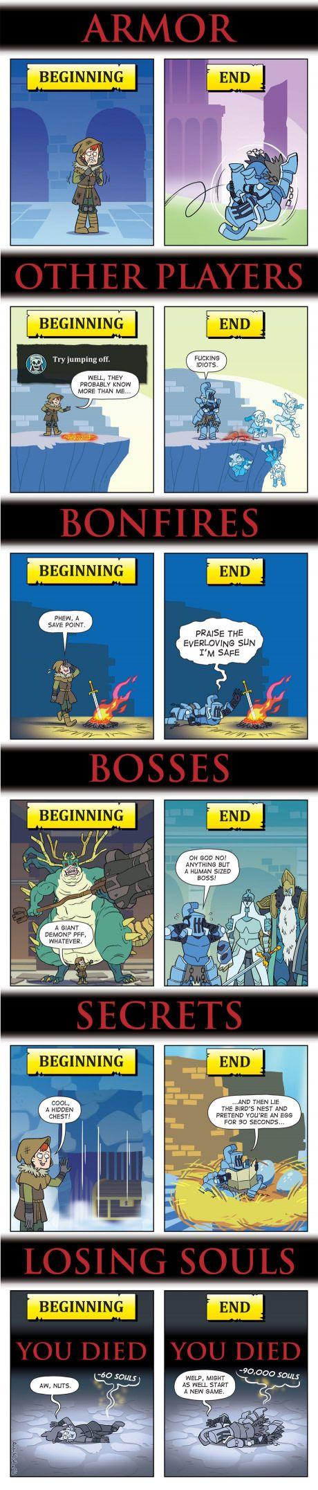 Dark Souls Beginning Vs. End Dark souls, Funny games