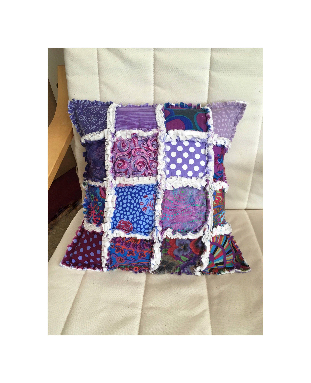 Rag quilt cushion patchwork cushion patchwork pillow rag quilt
