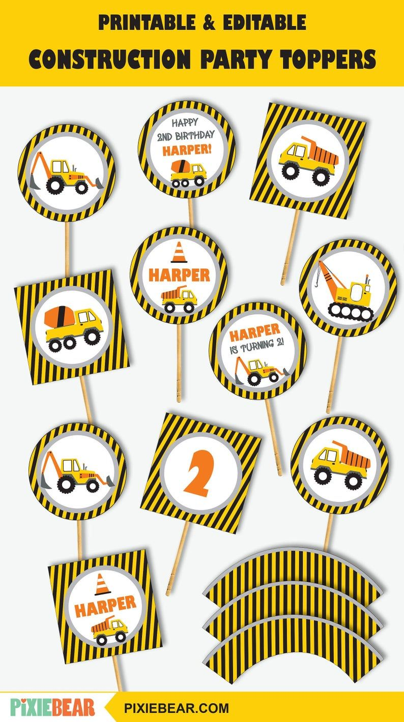 Construction Cupcake Toppers Printable Construction