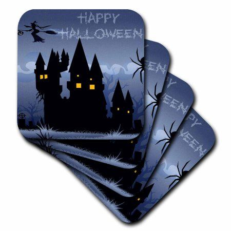 3dRose A Blue Haunted Halloween House With A Flying Witch And The Words Happy Halloween, Soft Coasters, set of 8