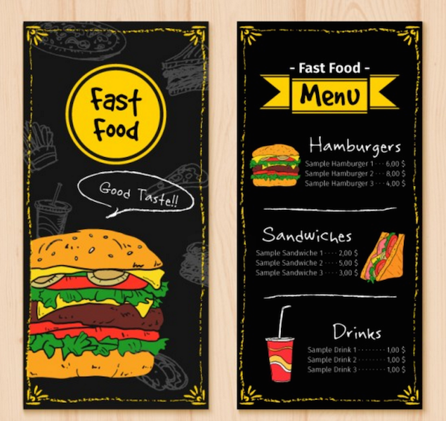 Hand Drawn Fast Food Menu Template  My Recipes    Food