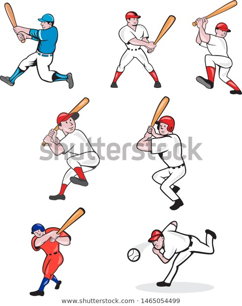Set Collection Illustration American Baseball Player Stock Vector Royalty Free 1465054499 Baseball Car In 2020 Baseball Players Best Baseball Player Baseball Memes