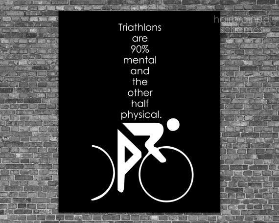 """print is entitled """"Mental Game"""" For your favourite triathlete or ironman.    I live with an ironman (not THE ironman) and he is definitely somewhat mental. ♥♥♥  this print is 8x10 unmatted & unframed    colours may vary slightly different than displayed on your monitor    totally customizable (color, size, wording - send m..."""