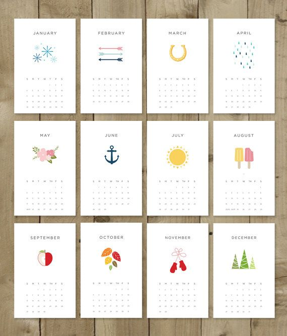 Printable 2015 Calendar Pdf Instant Download Diy Vector