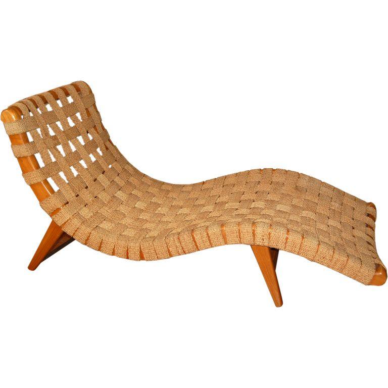 A Rare And Important Chaise Longue In Primavera Wood And Original Artisan Webbing By Michael Van Beuren Klaus Grabe And Morley Butacas Muebles Luis Barragan
