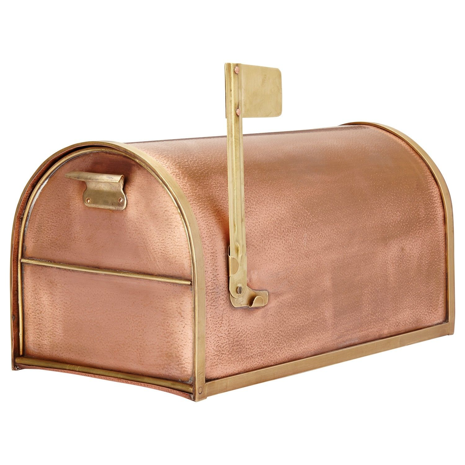 Classic Post Mount Copper Mailbox With Brass Accents Copper Mailbox Mounted Mailbox Post Mount