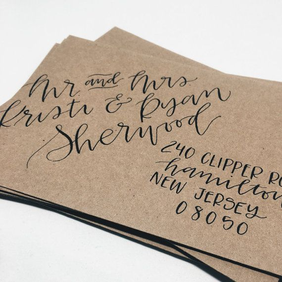 Envelopes with hand lettering — modern calligraphy or brush lettering — will help your invitations to feel special right as your guests slip them from the mailbox. Envelopes pictured in this listing use brush lettering with watercolor paint.  Purchasing this listing for a sample envelope. I will mail you an envelope written in the calligraphy style of your choice with your address on it. Please leave the style you would like to see in the order notes. The information below is for placing a…