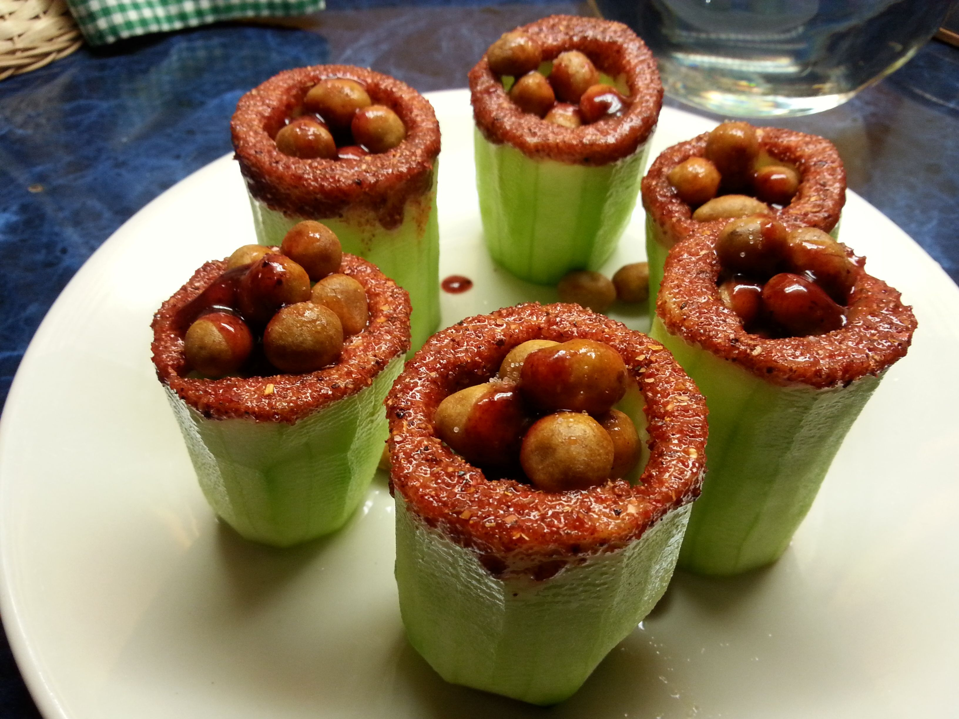 Cucumbers filled with peanuts cacahuates japoneses