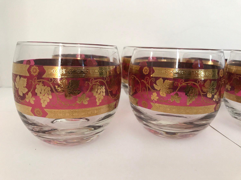 Six Vintage Cera Roly Poly Cocktail Glasses Mid Century Modern Gold Grape Purple Holiday Barware Drinkware Rare In 2020 Mid Century Modern Glassware Vintage Barware Retro Bar Cart