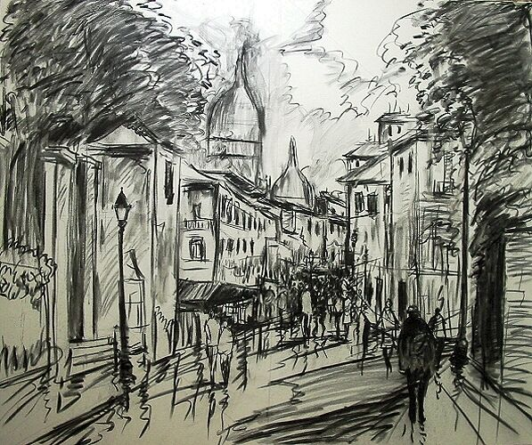 charcoal drawings of Paris | deviantART: More Like molly mixed media by ~derekjones