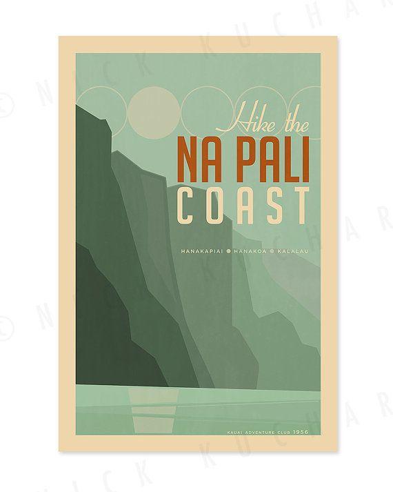Hike The Na Pali Coast 12x18 Retro Hawaii Print Napali Coast