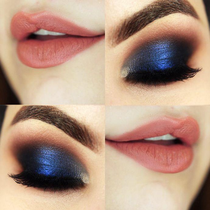 Maquillaje de fiesta para vestido azul marino