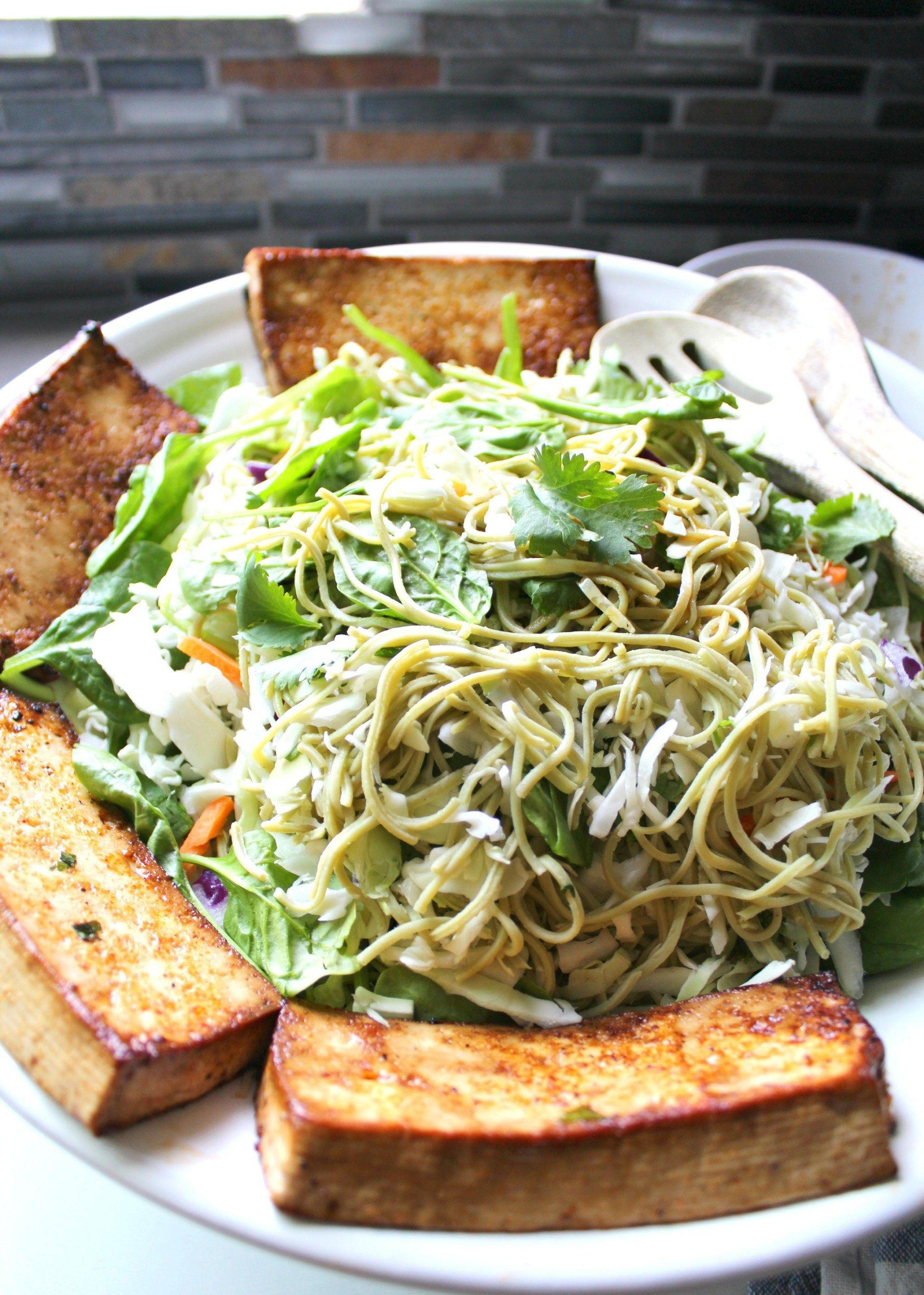 Marinated Tofu Edamame Spaghetti Salad Recipe Edamame