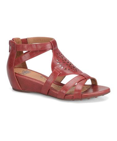 6a7c57c4b52d Look what I found on  zulily! Cherry Red Breeze Leather Sandal ...