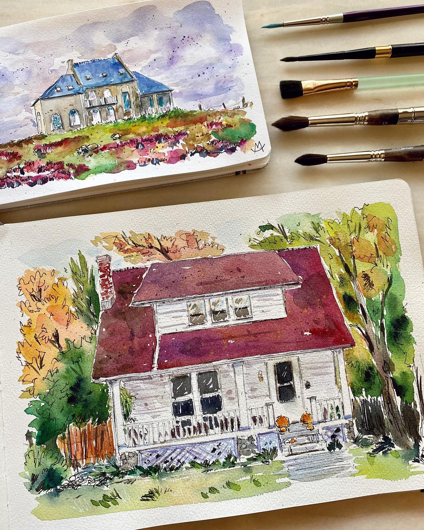 Red or blue roof?         #watercolorsketch #watercolorillustration #watercolorhouses  #drawing#sketch#urbansketch#urbansketching#urban#architektura#art#artwork#illust#painting #ink#landscape#staysafestayhome