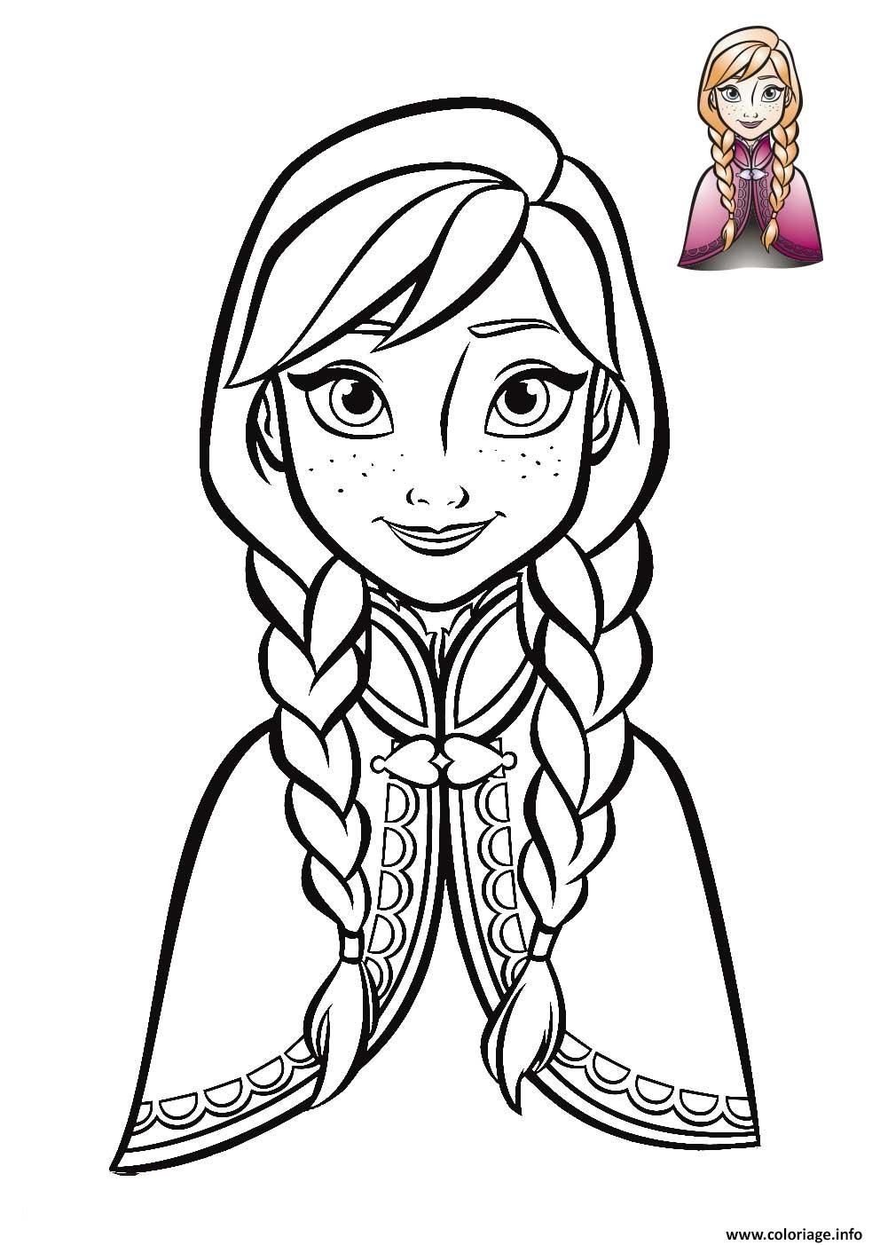 Coloriage anna reine des neiges de face 2018 dessin - Coloriage de frozen ...