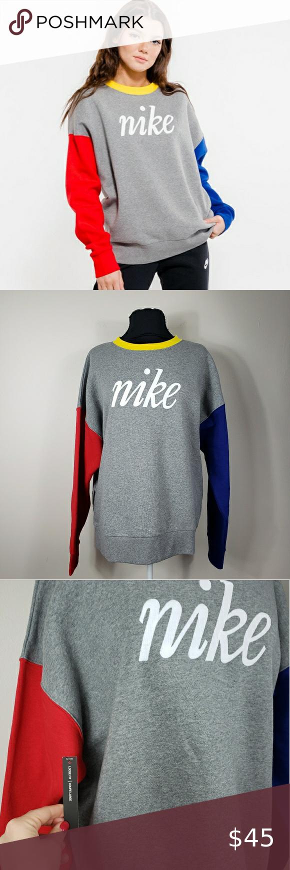 Nike Nsw Colorblock Sweatshirt Color Block Sweatshirt Sweatshirts Loose Sweatshirt [ 1740 x 580 Pixel ]