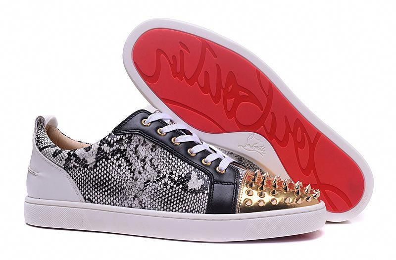 9073f95056f5 Christian Louboutin Louis White Snakeskin Gold Spike Low Sneakers   ChristianLouboutin