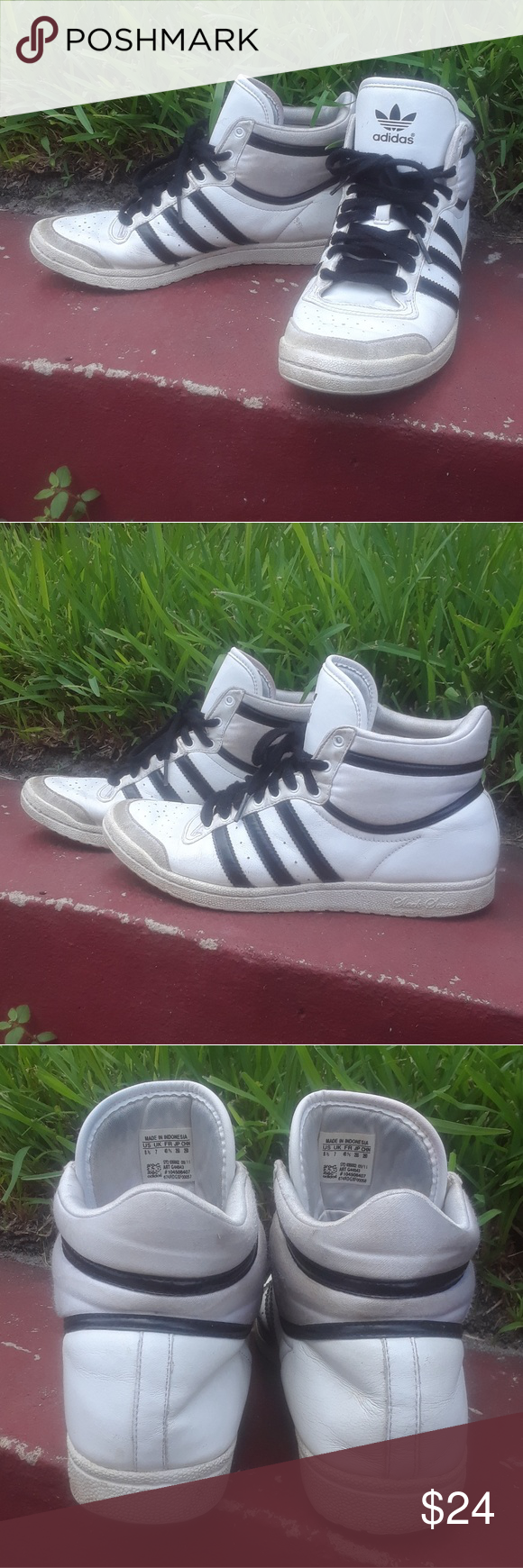 new concept 28b19 c79c7 Adidas High Top Sleek Series Adidas black and white high tops. Classic  style, Sleek Series, used. adidas Shoes Sneakers